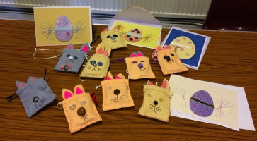 Bunny Bags and Easter Cards. Felt work and stitchery.