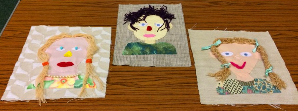 Self Portrait, fabric collage and applique.