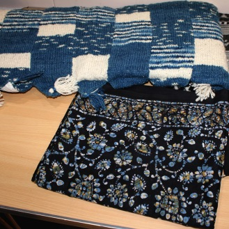 Above, cotton and merino mix , indigo dyed. Batik.