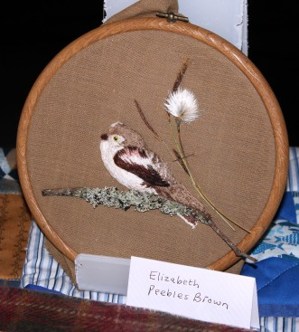 Embroidered bird completed at a workshop